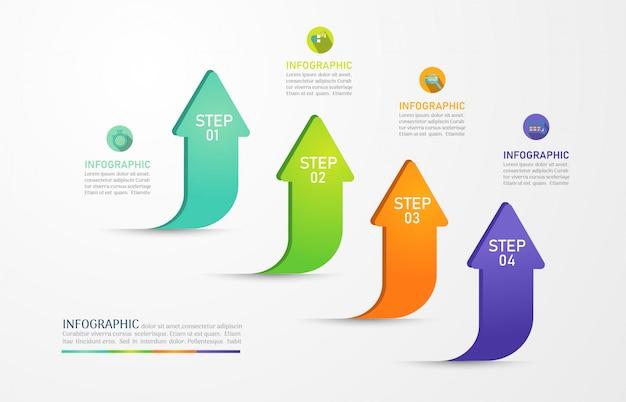 Elemento grafico infografica di opzioni modello di progettazione aziendale. Vettore Premium