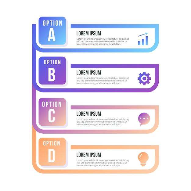 Elemento infografica con passaggi impostati Vettore gratuito