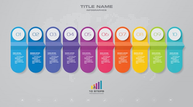 Elemento infografica grafico timeline. Vettore Premium
