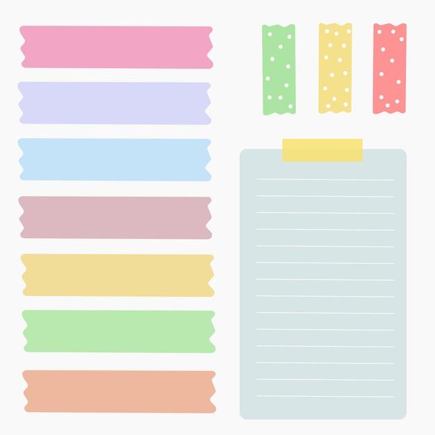 Elemento insieme di vettore di carta colorata Vettore Premium
