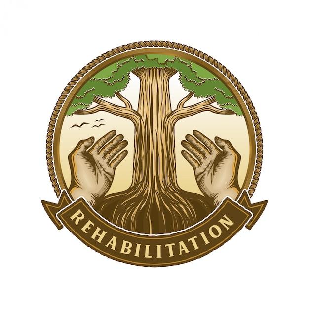 Elemento mano e albero per logo e persone vita Vettore Premium