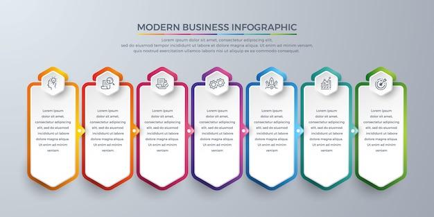 Elemento modello di progettazione infografica con 7 scelte di processo o passaggi. Vettore Premium