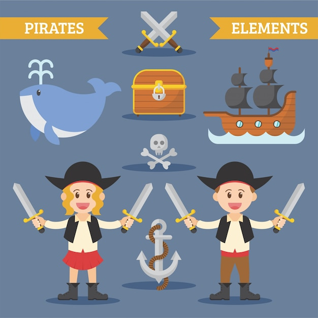 Elemento pirati piatto Vettore Premium