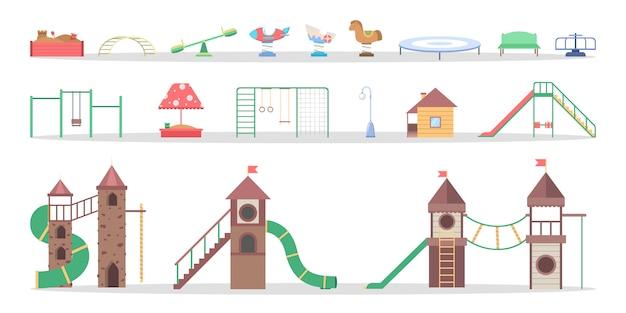 Elemento playgorund per bambini insieme. scivolo e sega a mare, oscillazione e razzo. attrezzature per la scuola materna. illustrazione Vettore Premium
