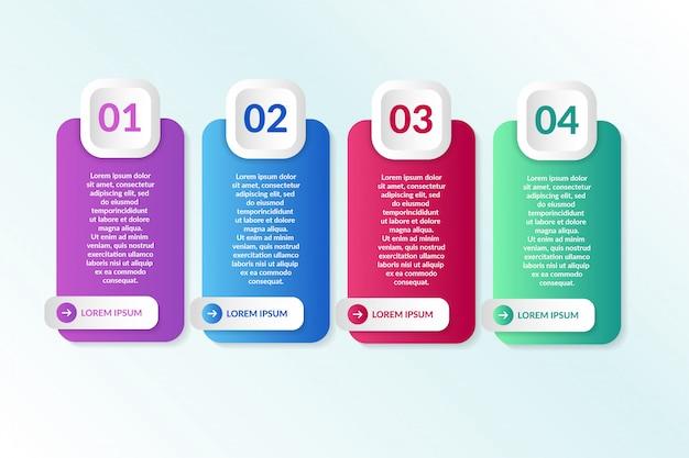 Elenco progettazione infografica con 4 elenchi informazioni Vettore Premium