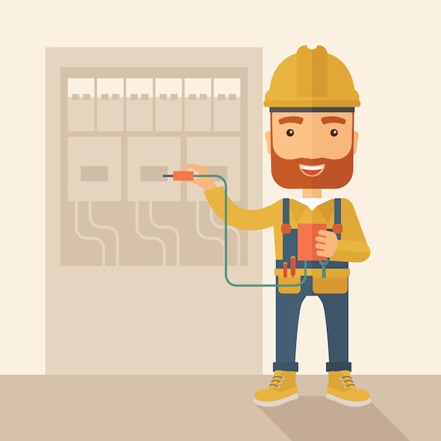 Elettricista che ripara un quadro elettrico Vettore Premium