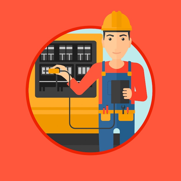 Elettricista con apparecchiature elettriche. Vettore Premium