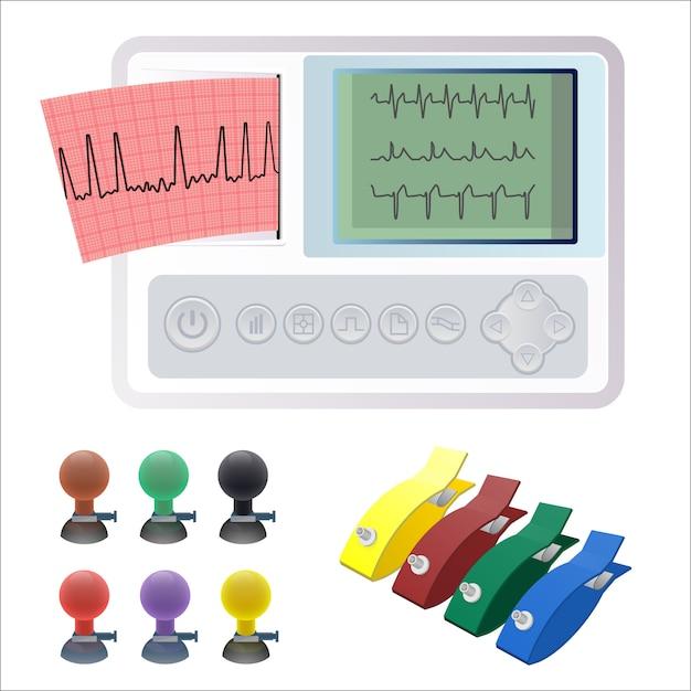Elettrocardiografia ecg o macchina ekg che registra l'attività elettrica del cuore mediante elettrodi posizionati sulla pelle. Vettore Premium