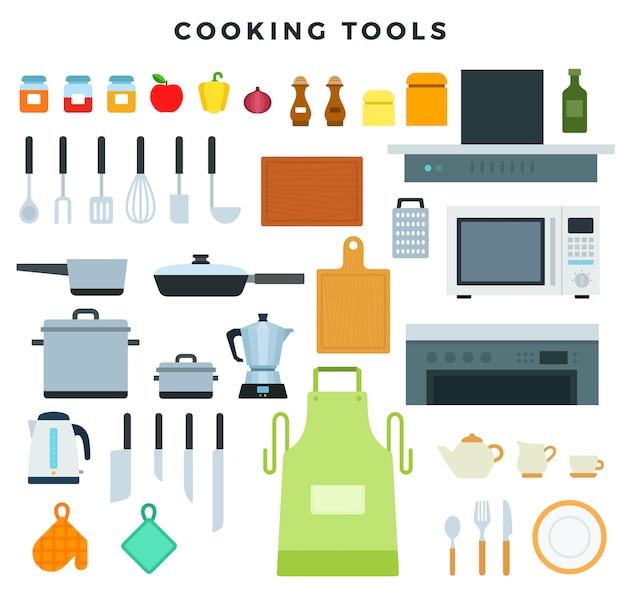 Elettrodomestici da cucina, utensili e stoviglie, set di icone. pentole e condimenti Vettore Premium