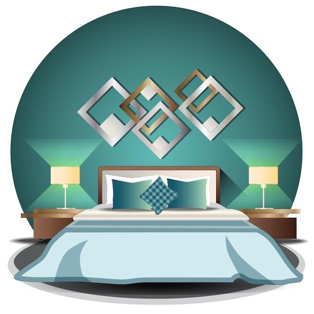 Elevazione della camera da letto impostata con sfondo Vettore Premium