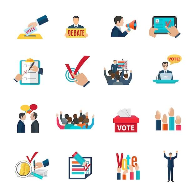 Elezioni con dibattiti elettorali e icone di agitazione impostate Vettore gratuito