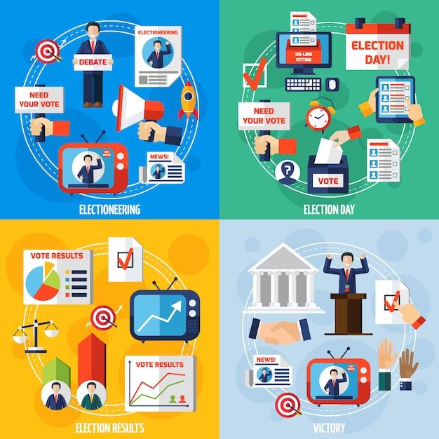 Elezioni e concetto di design piatto di voto Vettore gratuito