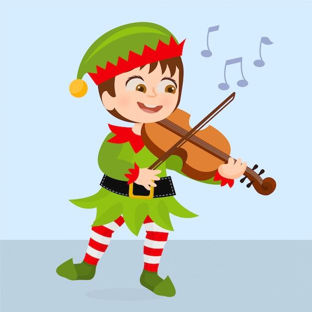 Elfo che suona canzoni di natale Vettore Premium