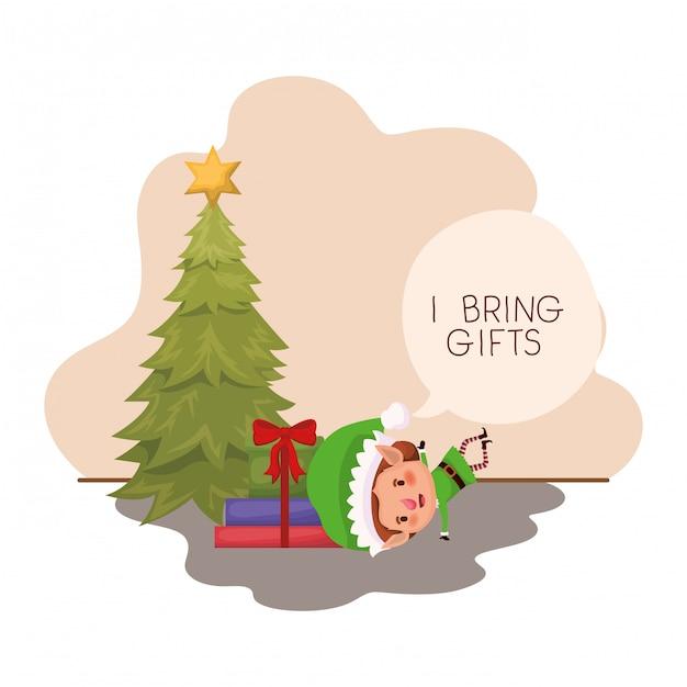 Elfo con albero di natale e regali Vettore Premium