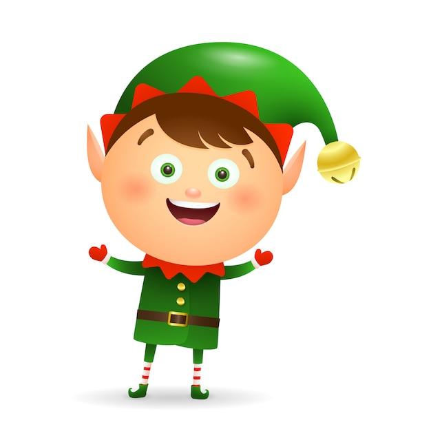 Elfo di natale felice che porta il fumetto verde del costume Vettore gratuito