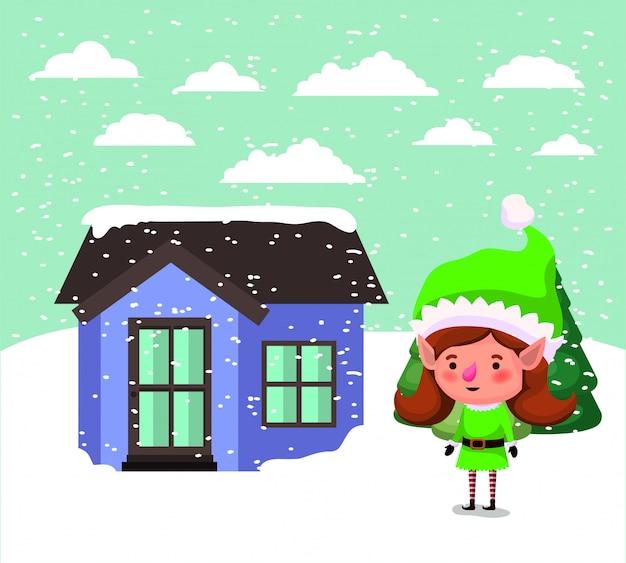 Elfo di santa helper con la casa in snowscape Vettore gratuito