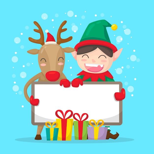 Elfo e renna di natale che tengono bandiera in bianco Vettore gratuito
