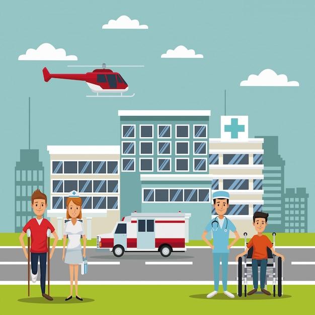 Elicottero che vola sopra la testa e pazienti con medici specialisti Vettore Premium