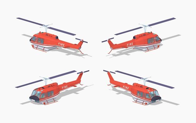 Elicottero low poly fire Vettore Premium