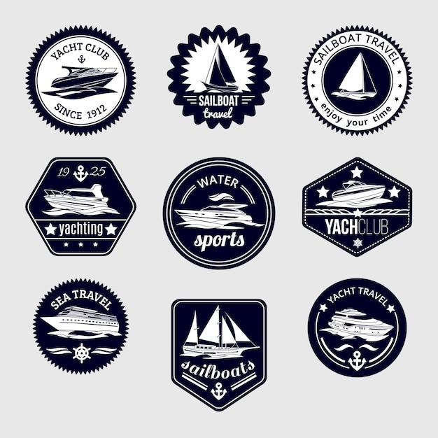 Elite mondo sport acquatici yacht club barca a vela marittima design design etichette set icone nere illustrazione vettoriale isolato Vettore gratuito