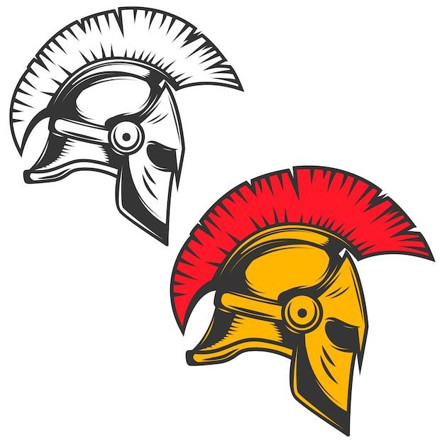 Elmo spartano. elementi per emblema, segno, distintivo. illustrazione Vettore Premium