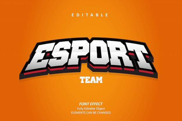 Emblema 3d esport text effect premium Vettore Premium