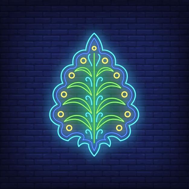 Emblema astratto con foglie al neon. decor, logo. Vettore gratuito