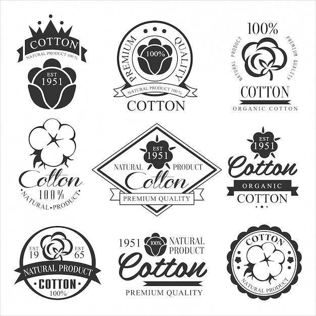 Emblema, badge e logo prodotto biologico. Vettore Premium