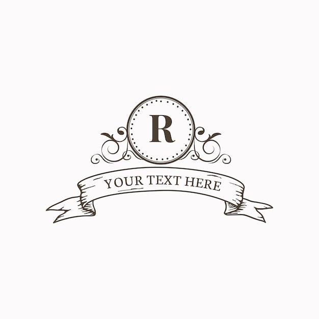 Emblema classico con iniziale Vettore gratuito