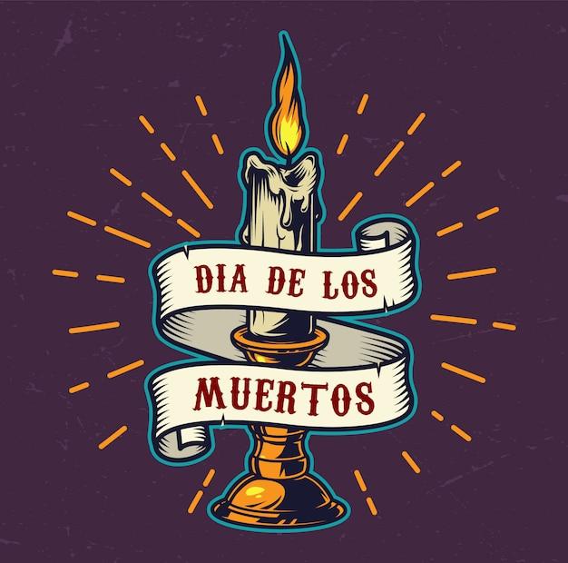 Emblema colorato di dia de los muertos Vettore gratuito