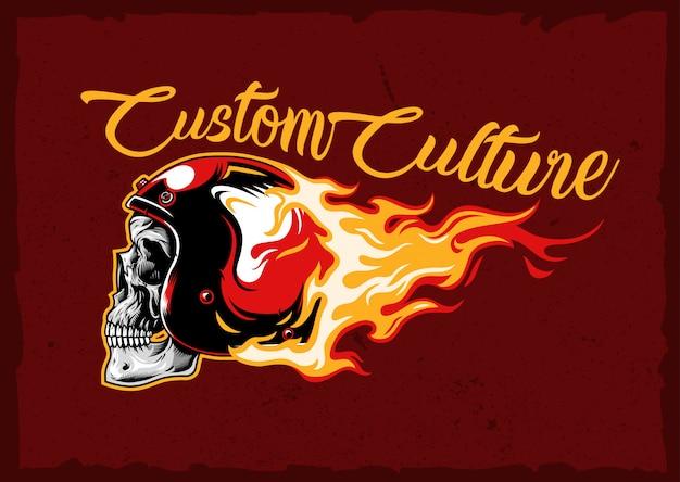 Emblema del casco cranio bruciante Vettore Premium