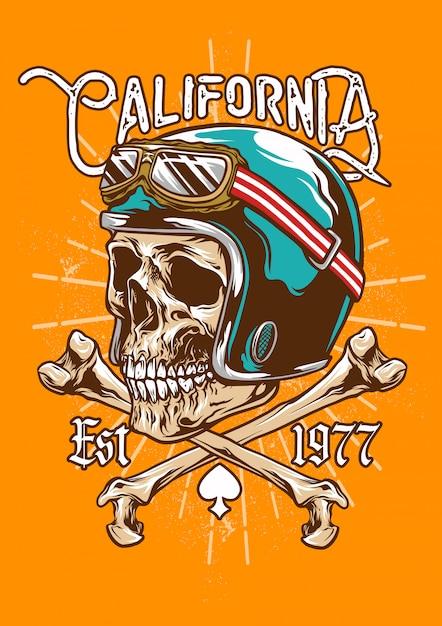 Emblema del casco teschio vintage e ossa incrociate Vettore Premium