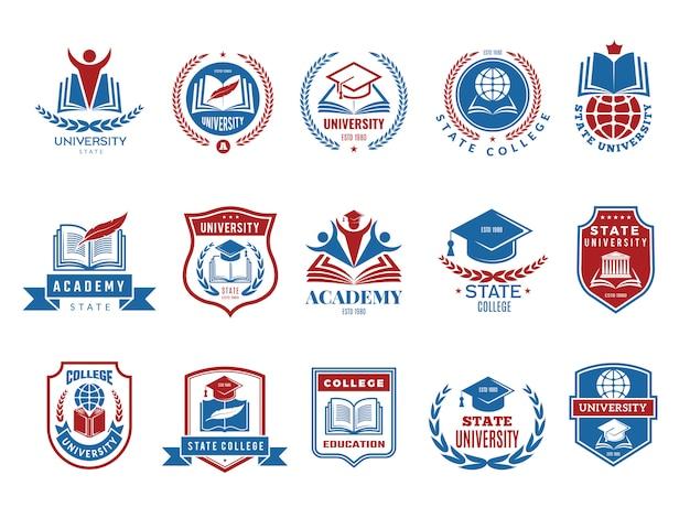 Emblema del college. collezione di loghi badge ed etichette scuola o università Vettore Premium