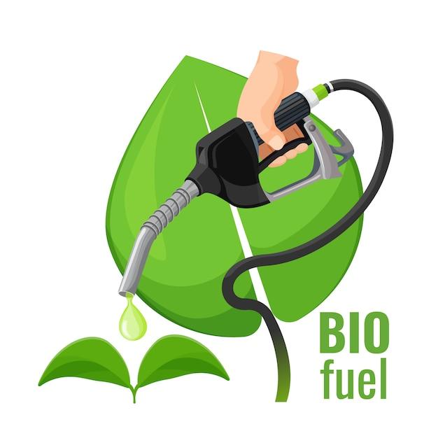 Emblema del concetto di biocarburante Vettore Premium