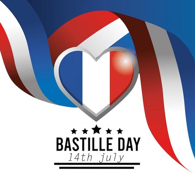 Emblema del cuore e nastro della bandiera della francia Vettore gratuito