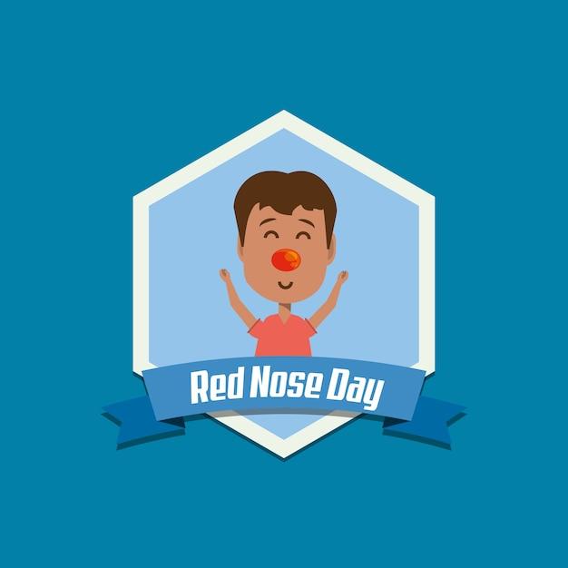 Emblema del giorno del naso rosso con il ragazzo dei cartoni