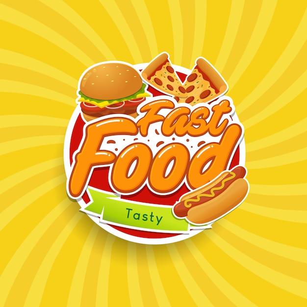 Emblema del logo fast food Vettore Premium