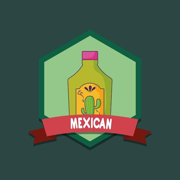Emblema Del Messico Con Bottiglia Di Tequila Su Sfondo Verde Design