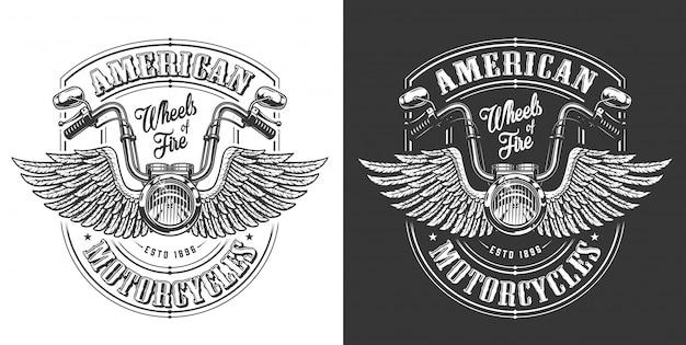 Emblema del motociclista con le ali Vettore gratuito