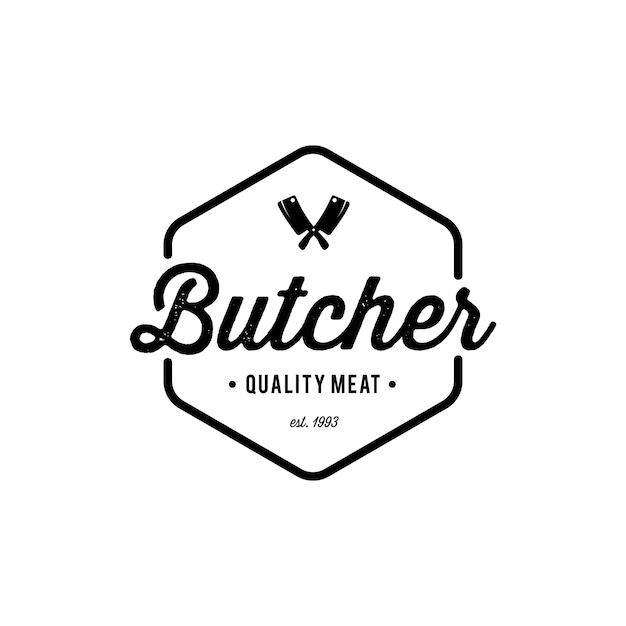 Emblema del negozio di macelleria. Vettore Premium