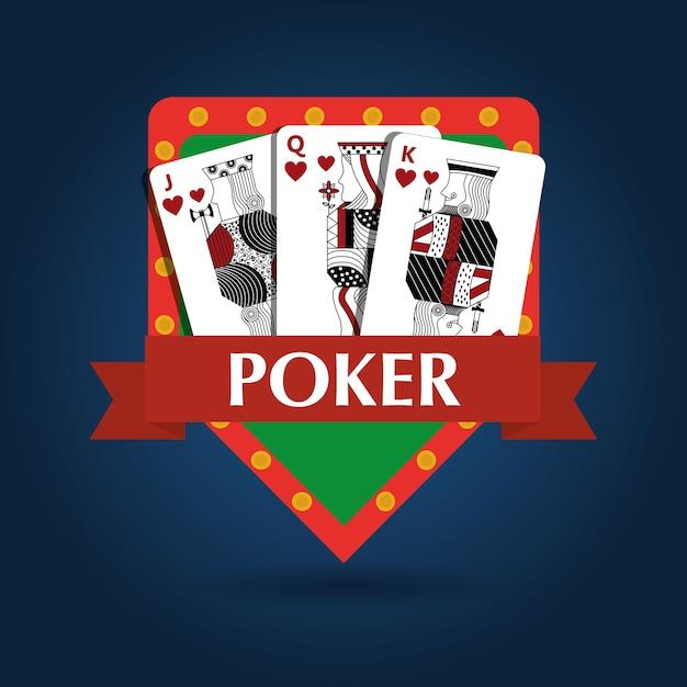 Emblema del rischio di gioco reale combinazione di carte da poker Vettore Premium