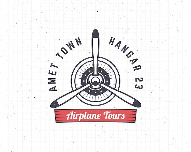 Emblema dell'aeroplano. elica retro plane con logo biplane. logo air tour. logotipo di viaggio Vettore Premium