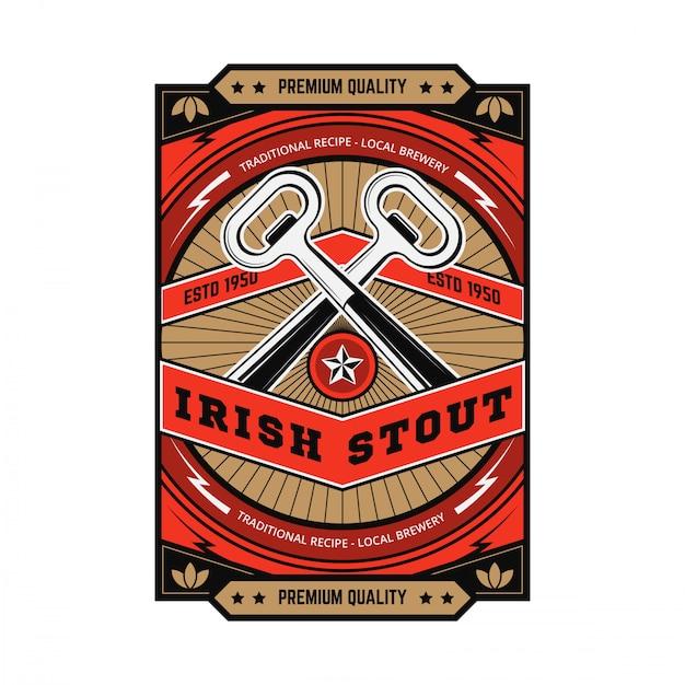 Emblema della birra vintage Vettore Premium