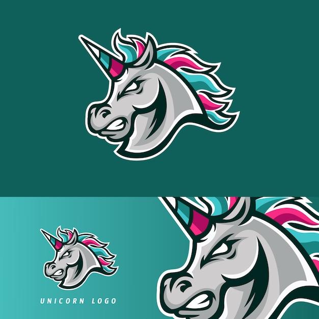 Emblema della mascotte di gioco dell'esportazione del cavallo dell'unicorno Vettore Premium