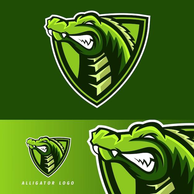Emblema della mascotte di gioco esportatore di alligatore Vettore Premium