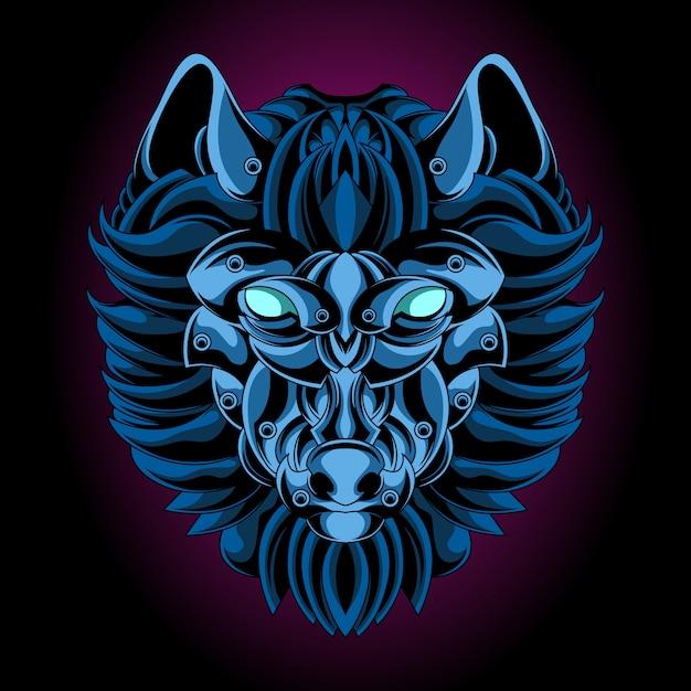 Emblema di ferro blu lupo Vettore Premium