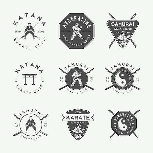 Emblema di karate, distintivo Vettore Premium
