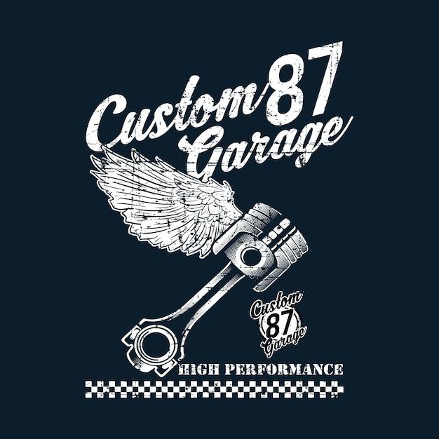 Emblema di moto custom vintage Vettore Premium