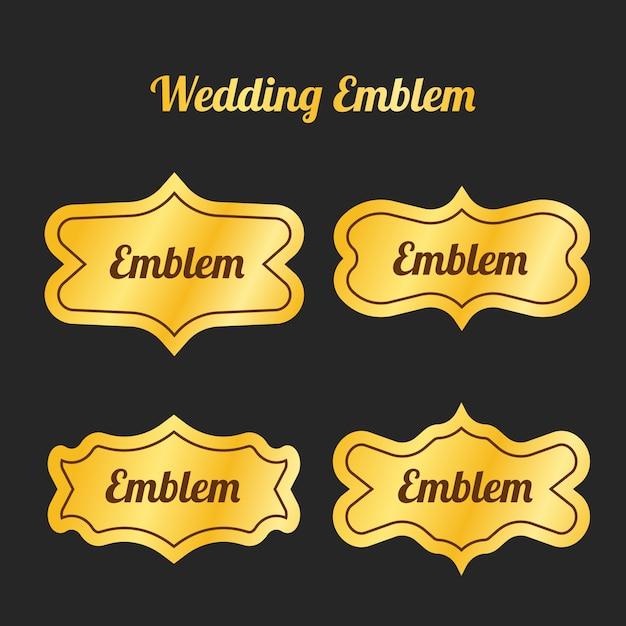 Emblema di nozze d'oro per invito o decorazione Vettore Premium