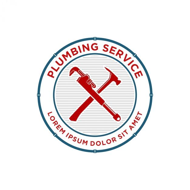 Emblema di servizio idraulico o logo design distintivo Vettore Premium